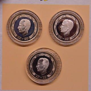 Belgien - 500 Francs 1991 Frans, Vlaams en Duits (3 stuks) in set - Silber