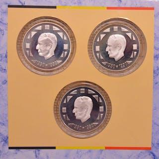 Belgien -500 Francs 1990 Frans, Vlaams en Duits (3 stuks) in set - Silber