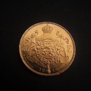 Belgium - 20Francs 1914 Albert I - Gold