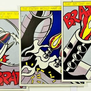 Roy Lichtenstein- As I Opened Fire - Triptych. 70s