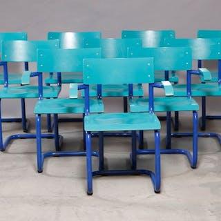 Rumas - Set of 10 industrial design old school chairs