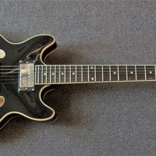 ChS - Hollowbody ES-335-model, zwart pianolak - Electric guitar