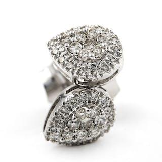 18 kt. Gold, White gold - Earrings - 1.00 ct Diamond