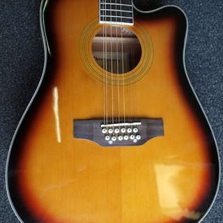 ChS - electro-akoestische gitaar, sunburst - Twelve-string guitars