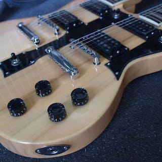 ChS - dubbelnek SG-model met 12 en 6 snaren, naturel - Doppel-Hals-Gitarre