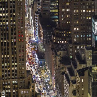 Paul Robert (1955-)- 5th Ave, New York by night, 2016