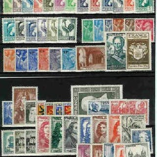 Francia 1944/1949 - Complete collection of MNH** stamps - Yvert n°599 au n°862