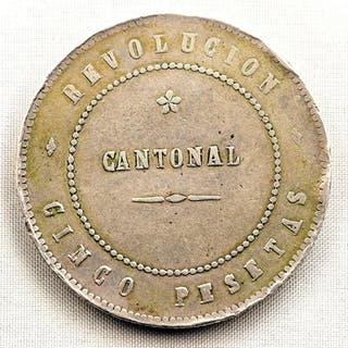 Spain - 5 Pesetas - 1873 - Cartagena - REVOLUCION CANTONAL- Silver