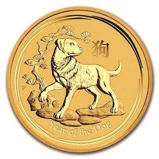 Australia - 15 Dollars 2018 Year of the Dog - 1/10 oz - Gold