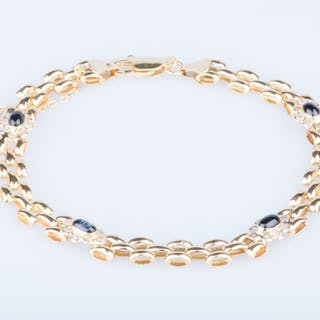 18 kt. Yellow gold - Bracelet - 0.32 ct Diamond - Sapphire