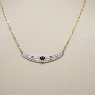 18 kt. Bicolour - Necklace - 2.50 ct Diamond - Sapphire
