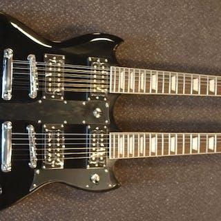 ChS - dubbelnek SG-model met 12 + 6 snaren, pianolak zwart - Electric guitar