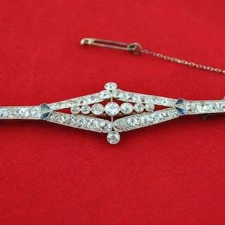 Authentic Antique Art Deco - PT 950 Platinum - Brooch Diamond - Sapphire