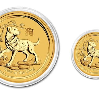Australia - 5 & 15 Dollars 2018 Year of the Dog (2 coins)...