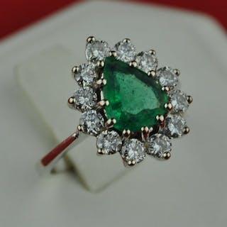 18 kt. White gold - Ring Emerald - Diamond