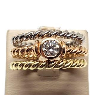 18 carati Tricolore - Anello solitario imPilabile - 0.43 ct Diamante