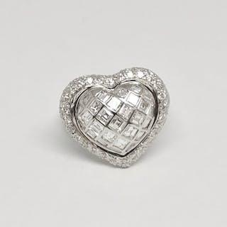 18 kt. White gold - Ring - 1.09 ct Diamond - Diamond