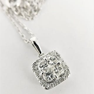 14k & 18k White gold - Necklace - 0.90 ct Diamond - Diamond