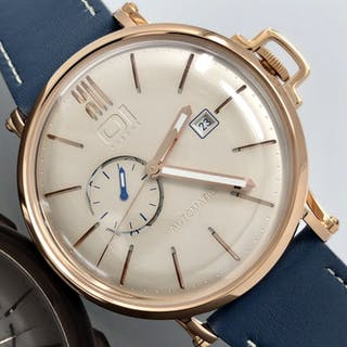 01 The One - Automatic 46mm IP Rose Gold Blue Leather...