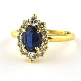 18 kt. - Ring Sapphire - Diamond