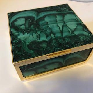 Malachite and gilded Brass Jewellery box - 8.5×16×17.5 cm - 2.23 kg