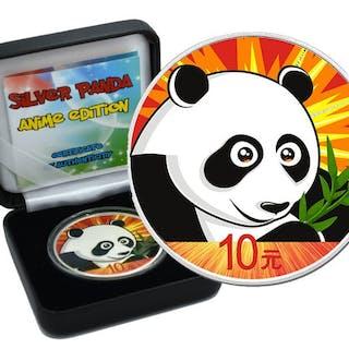 "China - 10 Yuan 2018 - ""Panda"" - Color Anime Edition - 30 gram - Silber"