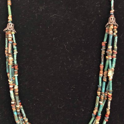 Ancient Egyptian FaienceMummy Beads Necklace - (1)