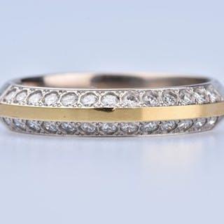 18 kt. White gold, Yellow gold - Ring - 0.50 ct Diamond