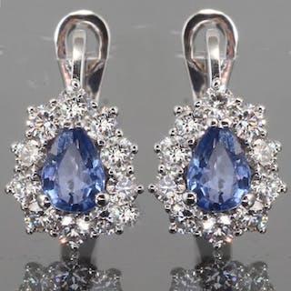 14 kt. White gold - Earrings - 1.00 ct Sapphire - Diamond