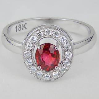18 kt. White gold - Ring - 1.01 ct Ruby - Diamond
