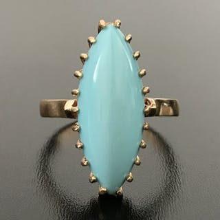 18 carats Or rose - Bague - 5.25 ct Turquoise