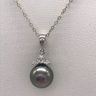 14 kt. White gold - Necklace with pendant Tahitian pearl - Diamonds