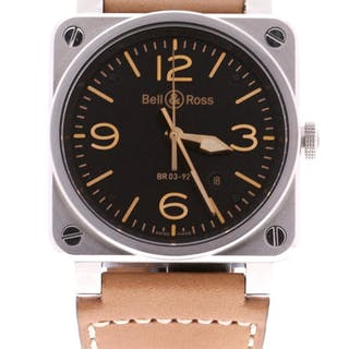 Bell & Ross - Aviation Gold Heritage Black Dial Leather...