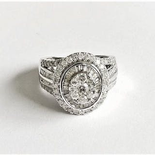 14 kt. White gold - Ring - 1.11 ct Diamond - Diamond