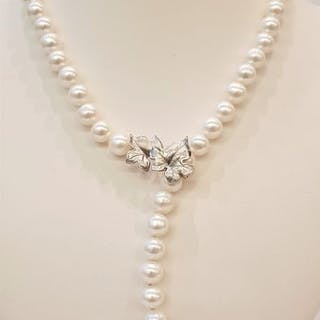 NO RESERVE PRICE - 925 Silver - 9x10mm Lustrous Freshwater Pearls - Necklace