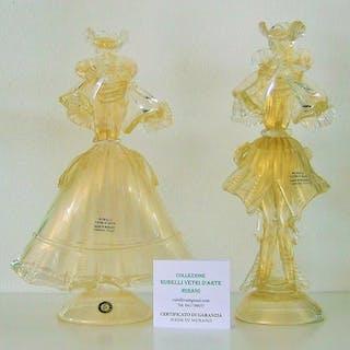 RUBELLI VETRI D'ARTE  - Murano - Coppia di figurine...