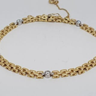 18 kt. Bicolour - Tennis Bracelet - 0.75 ct Diamond