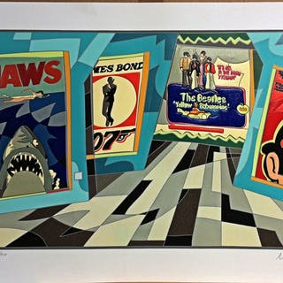 Ugo Nespolo - Jaws - serigrafia collages