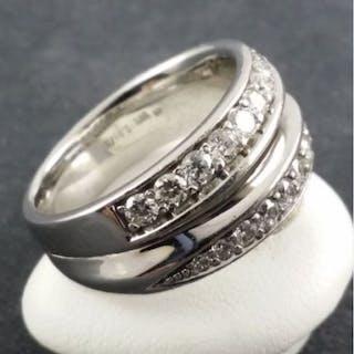 14 kt. White gold - Diamond Ring - 585 Gold - 20 Diamonds...