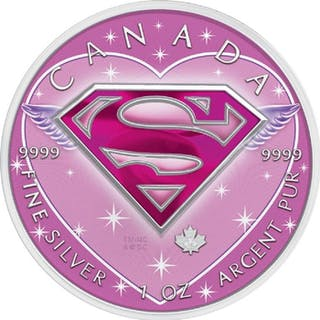 Kanada - 5 Dollar 2016 'Supergirl / Colored Valentine´s Day' - 1 Oz - Silber