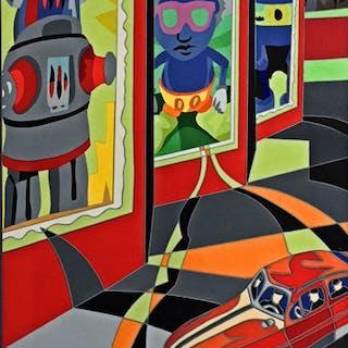 Ugo Nespolo - Robot - serigrafia +collages originale