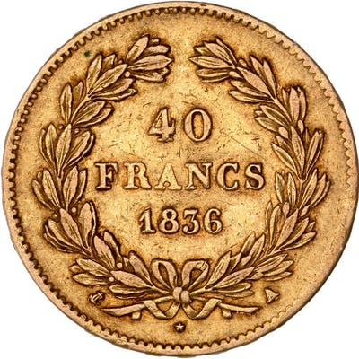 France - 40 Francs 1836-A Louis Philippe I - Or