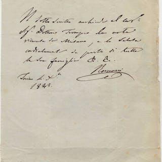 Felice Romani Librettist  - Autograph; Special Thanks to Trompeo