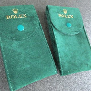 Rolex - 2 X Green Service Leather Watch Pouches/Etui's...