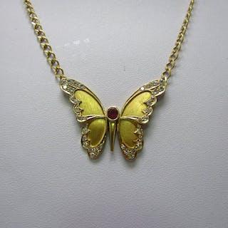 18 kt. Gold - Necklace - 0.60 ct Ruby - Diamonds