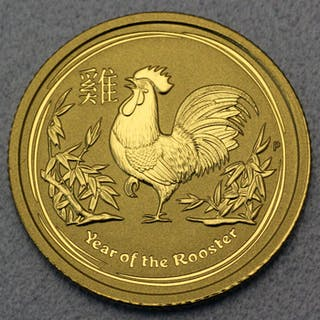 Australia - 15 Dollars 2017 'Year of the Rooster' - 1/10 oz - Gold