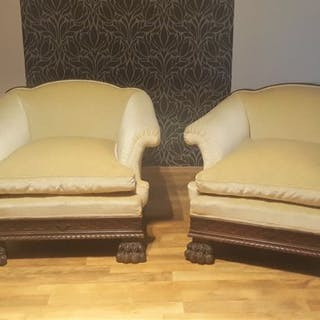 Pair of Lion paw Armchairs (2) - Velvet, Wood - 19th century