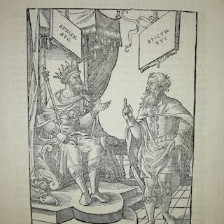 (XVI century anonymous) - Woodcut; Discussion between the...