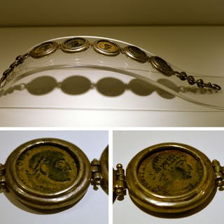 Ancient Roman Silver ,Modern Bracelet with 5 Ancient coins - (1)