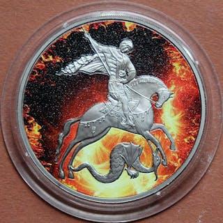 Russland - 3 Rubel 2010 Saint George Fire - 1 oz - Silber